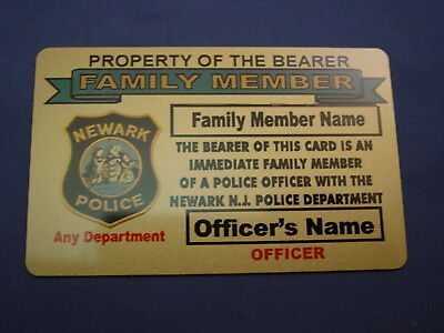 Lifetime -Pvc-New Jersey Police Card Family Member Pba Fop