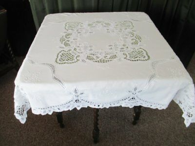 """PRETTY TABLECLOTH-HAND EMBROIDERY & TAPE LACE-WHITE-44""""sq."""