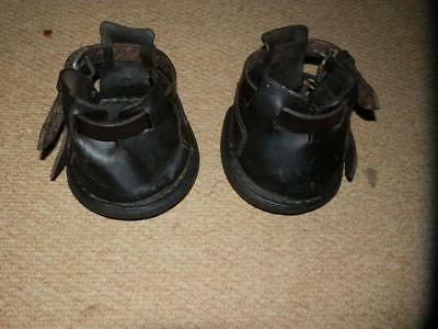 PAIR OF ANTIQUE HORSE DRAWN LEATHER LAWN MOWER BOOTS .(2) Pony Size