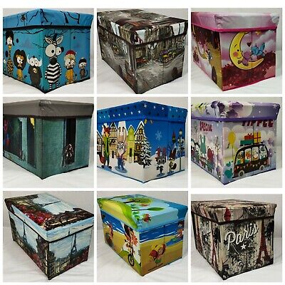 Kids Toy Box Boys Girls Books Holder Chest Clothes Storage Stool Lid