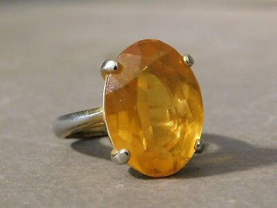 Vintage Goldtone Adjustable Size Amber Topaz Color Stone Cocktail Ring
