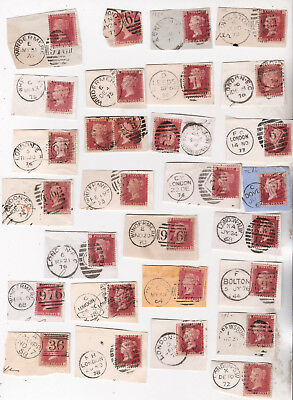 1860-70s QV 28 CORNER PIECES WITH 1d PENNY RED STAMPS FOR POSTMARKS + PLATING