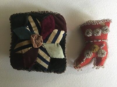 Lot Of Sewing Antique Pin Cushion Patchwork And Beaded