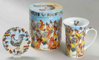Cardew Design ROOSTERS Mug & Coaster Set With Gift Tin 9060270