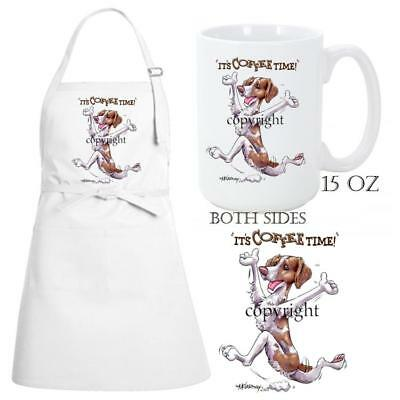 Brittany Spaniel Dog Breed Coffee Time Kitchen Chef Apron & Ceramic Mug Gift Set