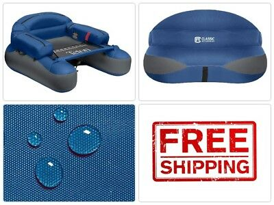 Inflatable Fishing Float Teton Outdoor Water Sports Lake River Tube w/Rod Holder