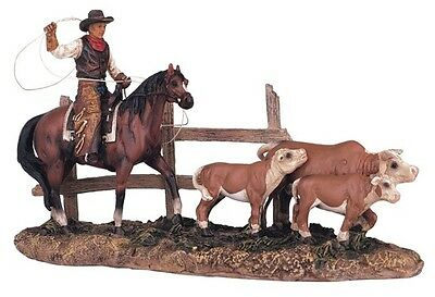 Western Cowboy on Horse Roping Calf Rodeo Figurine Figure Statue