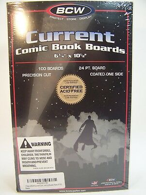 Pack 100 BCW Current Modern Comic Book Acid Free Backing Boards White New Sealed