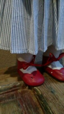 "NEW Old Stock 100% LEATHER Doll 4 1/4"" Shoes, very large doll shoe5 & socks"