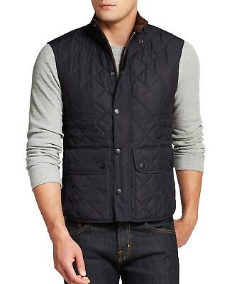 NEW BARBOUR Men's 'Lowerdale' Trim Fit Quilted Vest in Navy - Size XXL