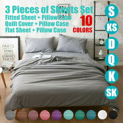 1000TC 3PC Sheet Set Fitted Flat Quilt Cover PillowCase Set S/D/Queen/King/Super