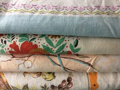 Vtg Lot 4 Linen Tablecloth Floral Mid Century Picnic Holes Spots As Is 50s 60s