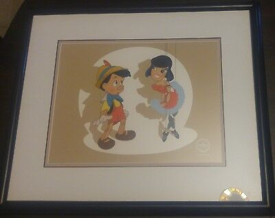 Pinocchio And Marionette Le Sericel, Walt Disney Studios Animation Art, Framed