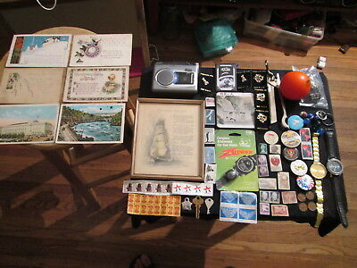 Junk Drawer Lot estate sale old coins old marbles PANASONIC RQ-L30 vtg post card
