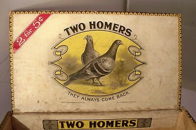 Antique Wooden Cigar Box TWO HOMERS