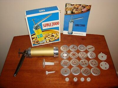 Vintage SAWA 2000 Deluxe Cookie Press Gun - Complete In Box - Made in Sweden