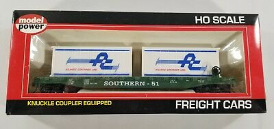 Model Power Ho Scale Srr 51' Flat Car W/2-20' Containers W/knuckle Couplers Nib