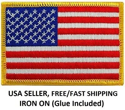 **LOVE IT OR ITS FREE** AMERICAN FLAG EMBROIDERED PATCH iron-on GOLD BORDER
