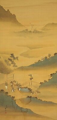 "JAPANESE HANGING SCROLL : KATSUSHIKA TAITO ""Laborer Scenery""  @e499"
