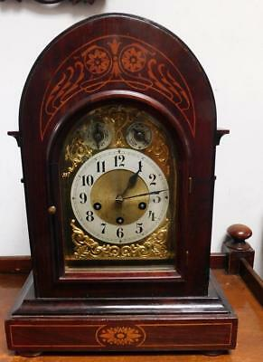 mahogany inlaid westminster bracket clock by junghans