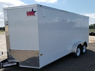 7x14 7 x 14 Enclosed Trailer Cargo V-Nose Tandem Motorcycle Utility 12 16  2018