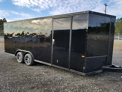 8.5x20 Enclosed Cargo Trailer BLACK OUT V NOSE 22 Car Hauler 22 18 2018