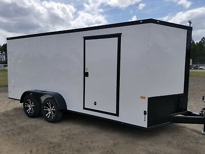 7x16 7 x 16 Enclosed Trailer Cargo Blackout V Nose 14 Motorcycle Black Out  CALL