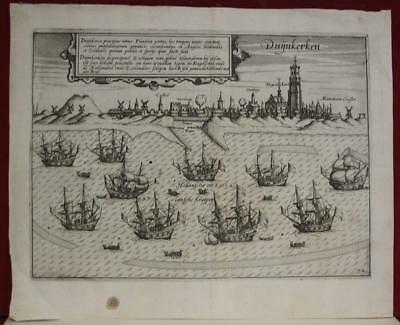 Dunkerque France 1612 Lodovico Guicciardini Unusual Antique Copper Engraved Map
