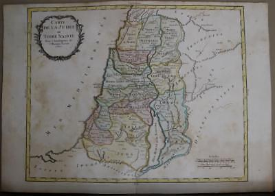 ISRAEL HOLY LAND 1743ca BOURGOIN UNUSUAL ANTIQUE ORIGINAL COPPER ENGRAVED MAP