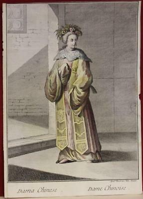 China Chinese Woman 1783 Viero Unusual Antique Copper Engraved Fashion Plate