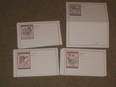 """15 NEW vintage Current Double Recipe Cards French Farmyard oob 3x5"""" opens 6x5"""""""