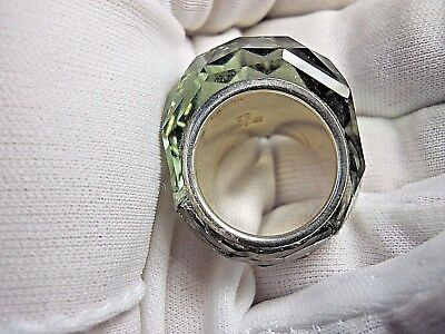 Swarovski® signed SWAN Crystal Nirvana Dome Ring silver green gray Size 52 (6)