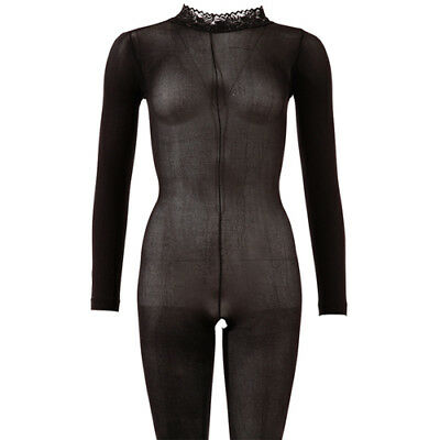 Mandy Mystery lingerie Langarm Catsuit ouvert schwarz S/M Overall Anzug Body