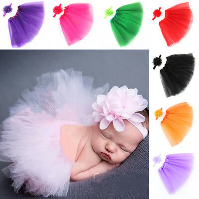Infant Baby Girl Newborn Flower Headband / Tutu Skirt Costume Set Photo Prop VDX