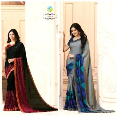 Indian Design Ethnic Women Saree Black & Gray Party Wear Casual Combo Pack Sari