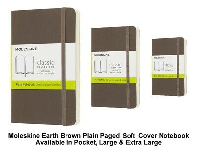 Moleskine Earth Brown Plain Paged Notebook Soft Cover (Pocket/Large/Extra Large)