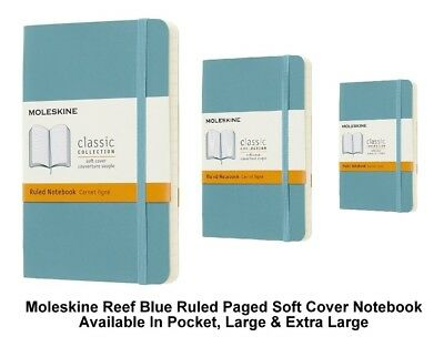 Moleskine Reef Blue Ruled Paged Notebook Soft Cover (Pocket/Large/Extra Large)