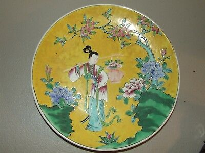 """Antique Signed Yamatoku Kiln Japanese Hand Painted Pottery 11"""" Charger Plate"""