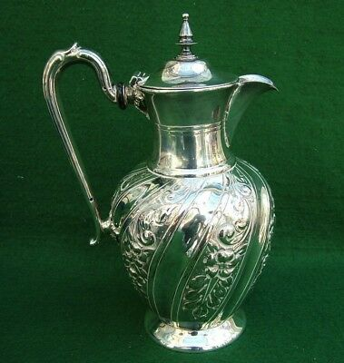 Fine Quality Victorian Repousse Silver Plated Water Juice Claret Jug