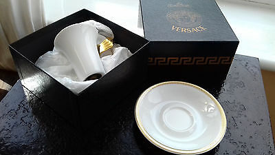 Rosenthal-Versace Meandre D`or Medusa White Cup & Saucer Boxed Set.