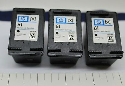HP 61 Empty Black Ink Cartridges OEM Never Refilled Lot of Three