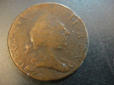 1773 American Colonial Virginia Half Penny Copper. Good to Very Good.