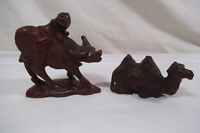 2-Vintage Hand Carved Rosewood Figurine-Camel & Ox w/Man on Back-Glass Eye-Asian