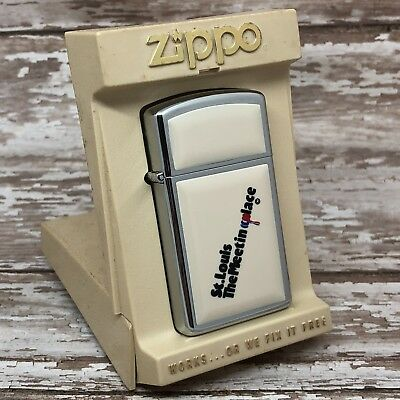 1982 Vintage Slim Zippo Lighter - Ivory Ultralite - St Louis - The Meeting Place