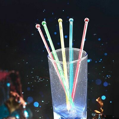 100 x COCKTAIL STIRRERS Party Drink Mojito Fruit Skewer Reusable Plastic Stick