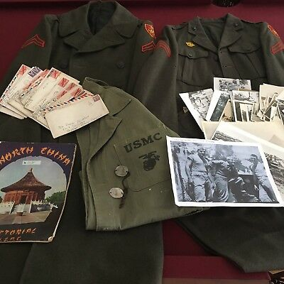 WWII USMC Uniform Grouping Named 3rd Amphibious Corps Photos Dog Tags Letters