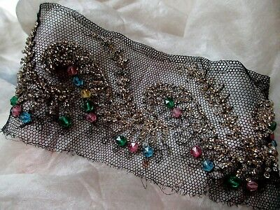 Antique French Glass Beaded Scrolled Motifs Black Tulle Lace Trim Pc