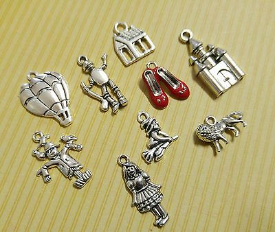 9 Wizard of Oz Charms Set Antiqued Silver Assorted Lot Themed Pendants