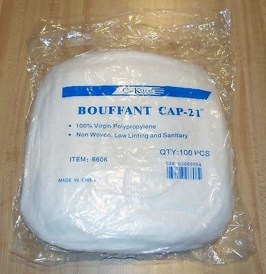 "100 Hair Nets, Bouffant Cap 21"", 100% Virgin polypropylene, non-woven"