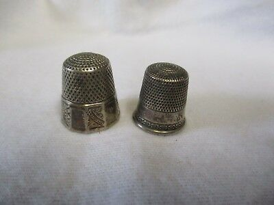 2 Antique Thimbles. One Marked Sterling The Other Is Not